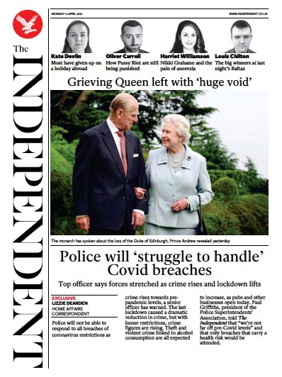 The Independent Newspaper Front Page (UK) for 12 April 2021