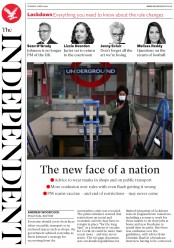 The Independent front page for 12 May 2020