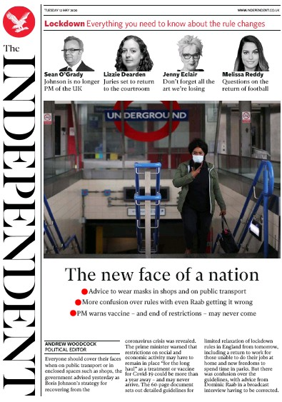 The Independent Newspaper Front Page (UK) for 12 May 2020