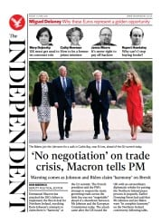 The Independent () Newspaper Front Page for 12 June 2021