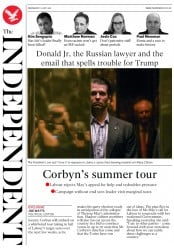 The Independent (UK) Newspaper Front Page for 12 July 2017