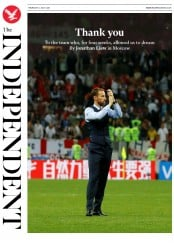 The Independent (UK) Newspaper Front Page for 12 July 2018