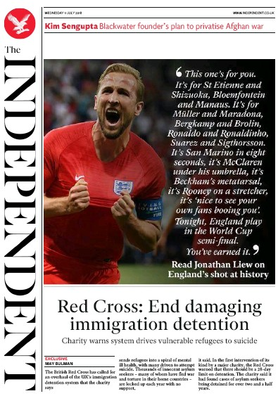 The Independent Newspaper Front Page (UK) for 12 July 2018