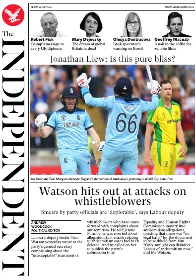 The Independent Newspaper Front Page (UK) for 12 July 2019