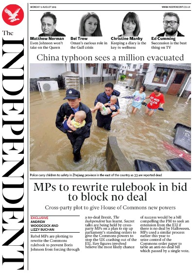 The Independent Newspaper Front Page (UK) for 12 August 2019