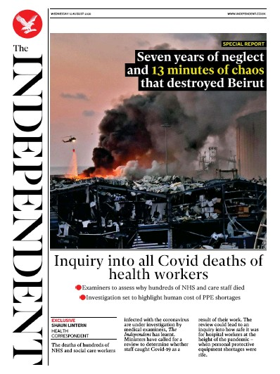 The Independent Newspaper Front Page (UK) for 12 August 2020
