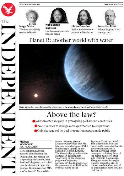 The Independent Newspaper Front Page (UK) for 12 September 2019