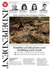The Independent (UK) Newspaper Front Page for 12 September 2020