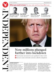 The Independent front page for 13 October 2020