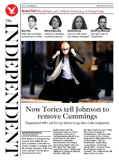 The Independent Newspaper Front Page (UK) for 13 November 2020
