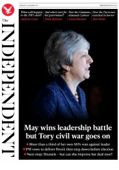 The Independent (UK) Newspaper Front Page for 13 December 2018