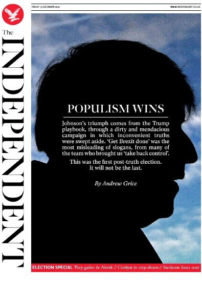The Independent Newspaper Front Page (UK) for 13 December 2019