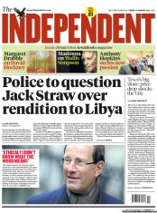 The Independent () Newspaper Front Page for 13 January 2012