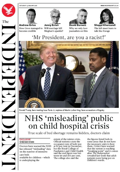 The Independent Newspaper Front Page (UK) for 13 January 2018