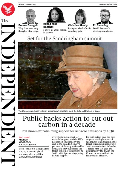 The Independent Newspaper Front Page (UK) for 13 January 2020