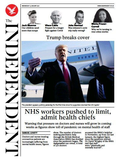 The Independent Newspaper Front Page (UK) for 13 January 2021