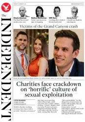 The Independent (UK) Newspaper Front Page for 13 February 2018