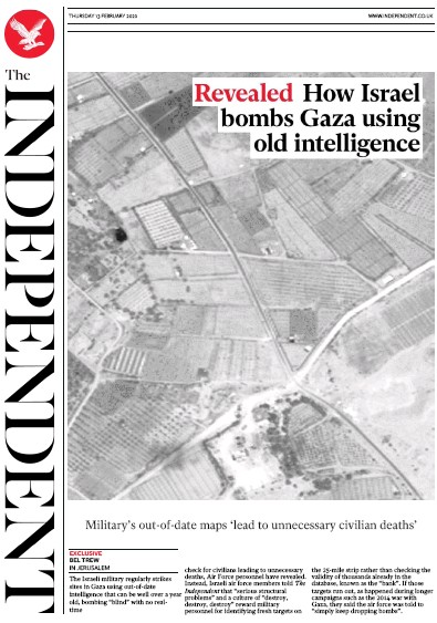 The Independent Newspaper Front Page (UK) for 13 February 2020