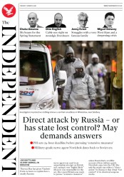 The Independent (UK) Newspaper Front Page for 13 March 2018
