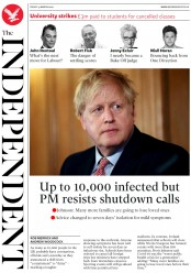 The Independent (UK) Newspaper Front Page for 13 March 2020