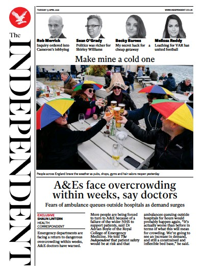 The Independent Newspaper Front Page (UK) for 13 April 2021
