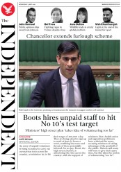 The Independent (UK) Newspaper Front Page for 13 May 2020