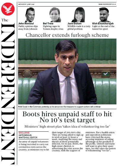 The Independent Newspaper Front Page (UK) for 13 May 2020