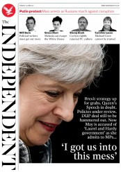 The Independent (UK) Newspaper Front Page for 13 June 2017