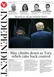 The Independent (UK) Newspaper Front Page for 13 June 2018