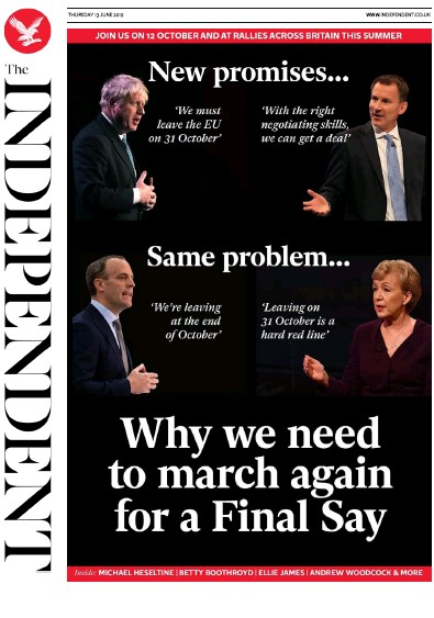 The Independent Newspaper Front Page (UK) for 13 June 2019