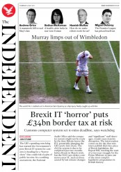The Independent (UK) Newspaper Front Page for 13 July 2017