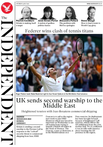 The Independent Newspaper Front Page (UK) for 13 July 2019
