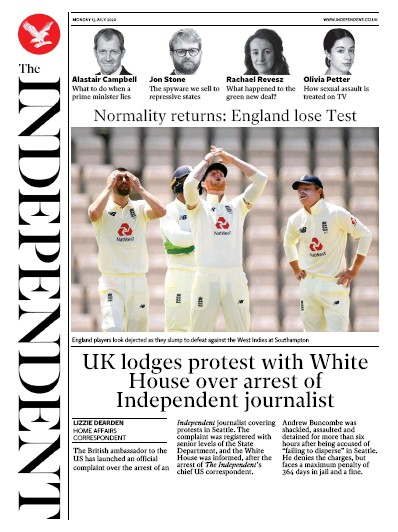 The Independent Newspaper Front Page (UK) for 13 July 2020