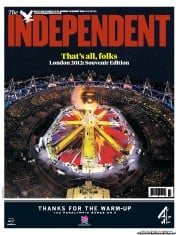 The Independent Newspaper Front Page (UK) for 13 August 2012
