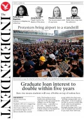 The Independent (UK) Newspaper Front Page for 13 August 2019