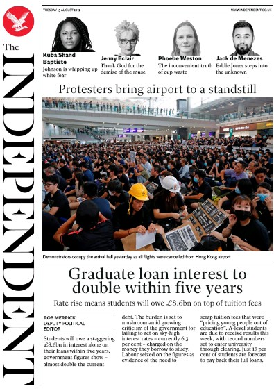 The Independent Newspaper Front Page (UK) for 13 August 2019