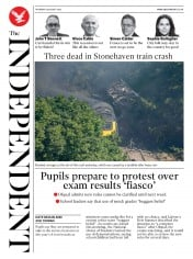 The Independent front page for 13 August 2020