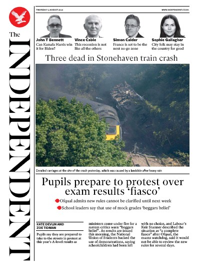 The Independent Newspaper Front Page (UK) for 13 August 2020