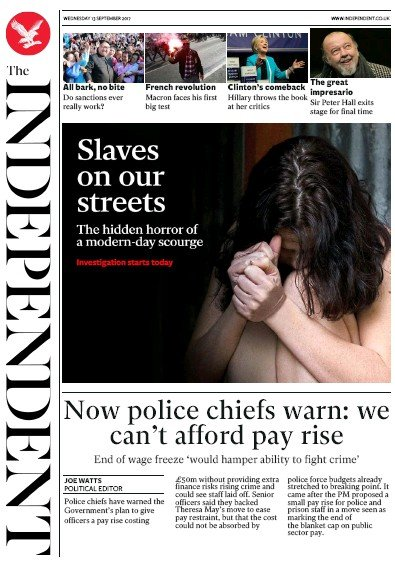 The Independent Newspaper Front Page (UK) for 13 September 2017