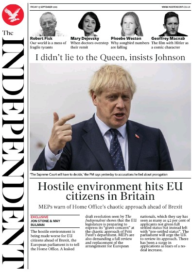 The Independent Newspaper Front Page (UK) for 13 September 2019