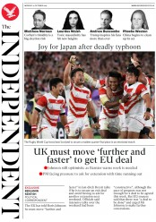 The Independent () Newspaper Front Page for 14 October 2019