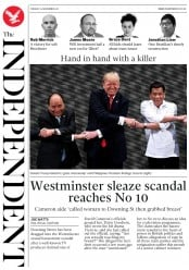 The Independent (UK) Newspaper Front Page for 14 November 2017