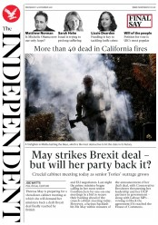 The Independent (UK) Newspaper Front Page for 14 November 2018