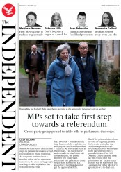 The Independent (UK) Newspaper Front Page for 14 January 2019