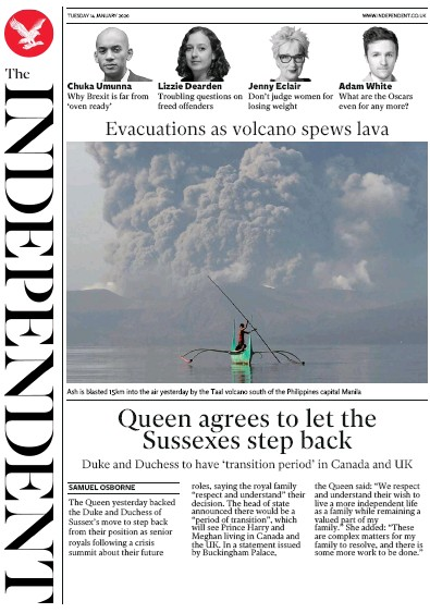 The Independent Newspaper Front Page (UK) for 14 January 2020