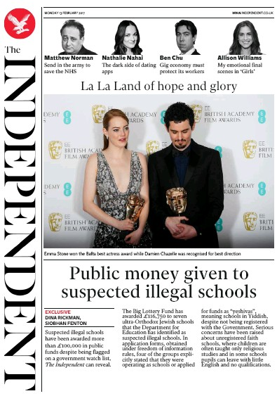 The Independent Newspaper Front Page (UK) for 14 February 2017