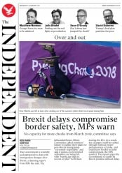 The Independent (UK) Newspaper Front Page for 14 February 2018