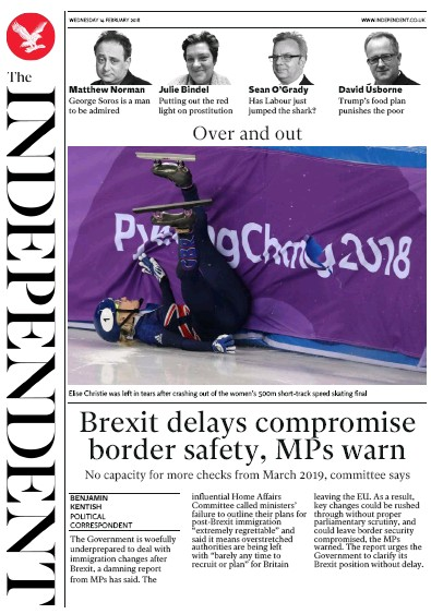 The Independent Newspaper Front Page (UK) for 14 February 2018