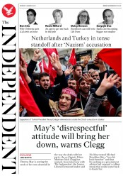 The Independent (UK) Newspaper Front Page for 14 March 2017