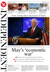 The Independent (UK) Newspaper Front Page for 14 March 2018